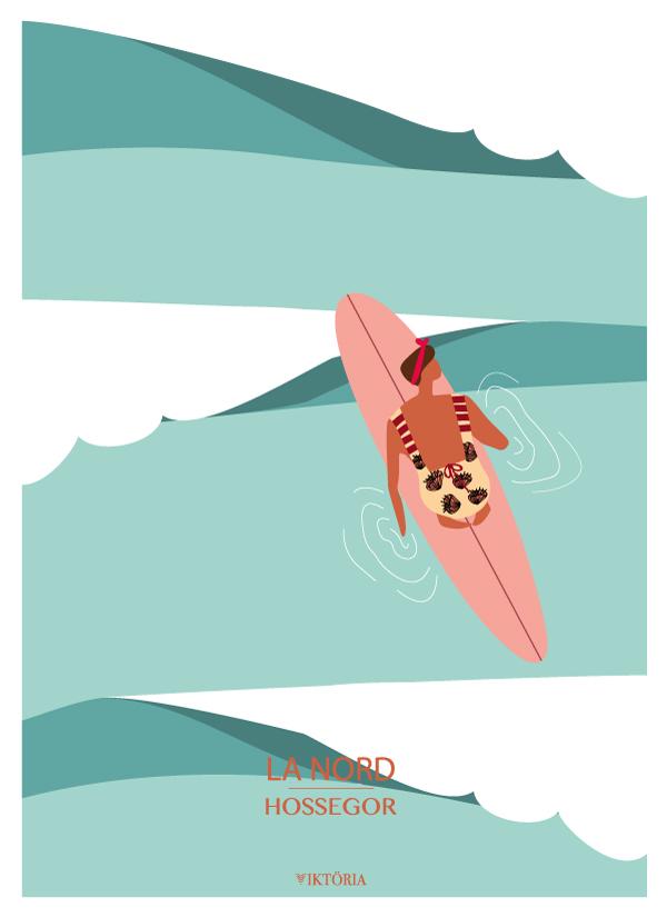 Affiche de surf Hossegor - plage de La Nord