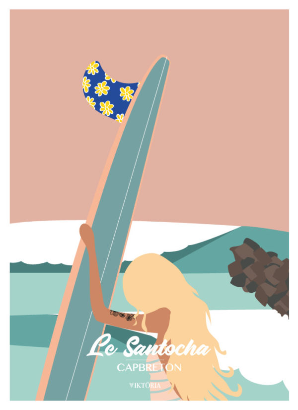 Affiche de surf le santocha Capbreton- Hossegor