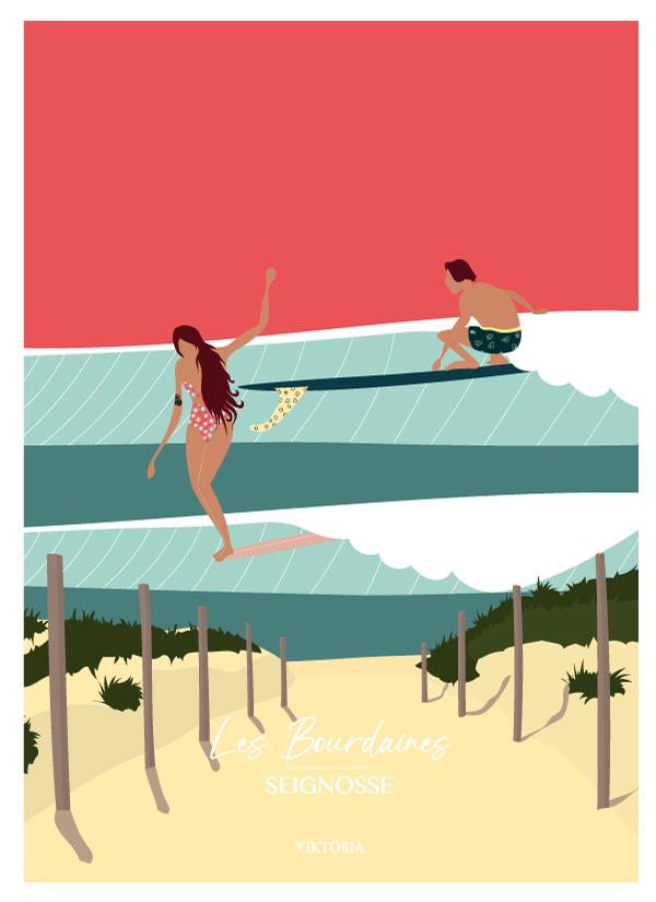 Affiche de surf Hossegor - LES BOURDAINES