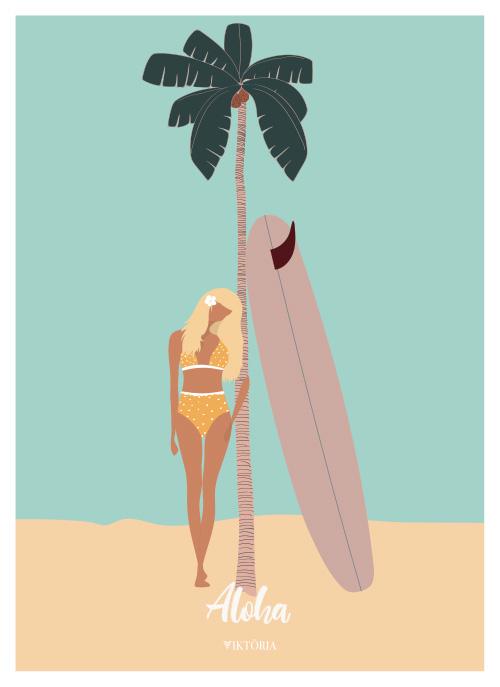Affiche de surf - affiche de plage - Beach poster