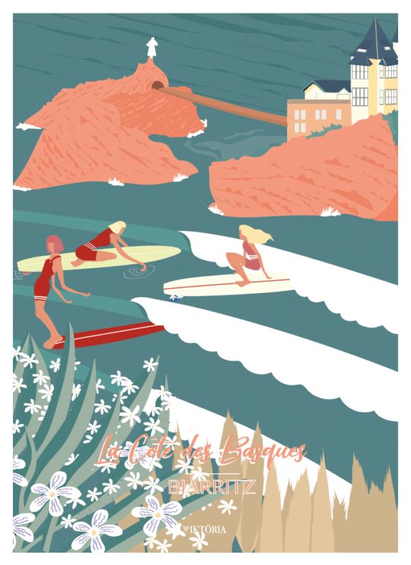 women on waves, illustration de surf