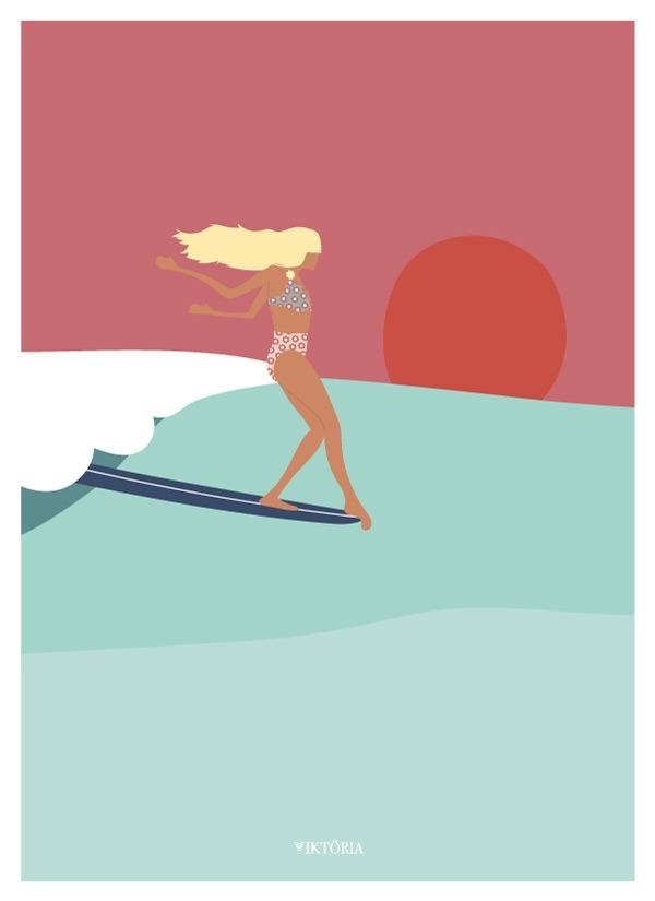 Affiches - Affiche de surf BIARRITZ- viktoria