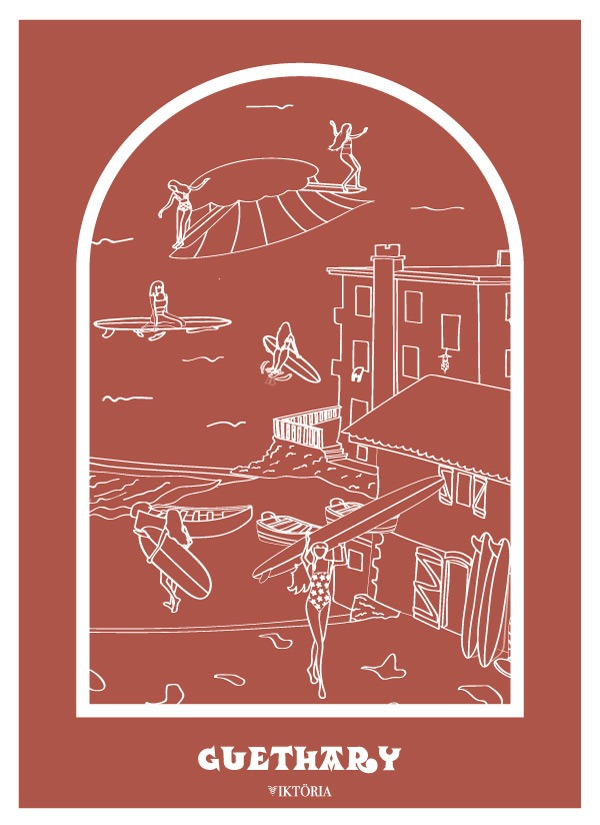 Affiches - Affiche de surf BIARRITZ- viktoria - GUETHARY